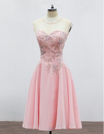 Modest Sweetheart Mini/ Short Chiffon Formal Homecoming/ Party Dress