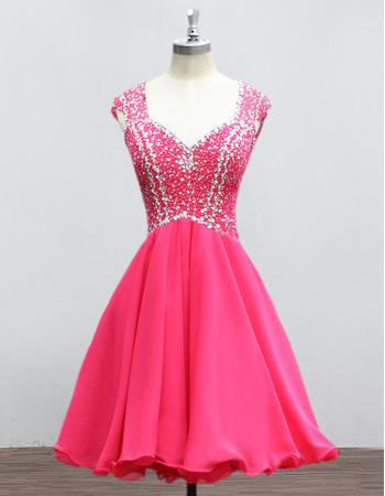 2018 Non Strapless Sweetheart Mini/ Short Chiffon Rhinestone Homecoming Dress