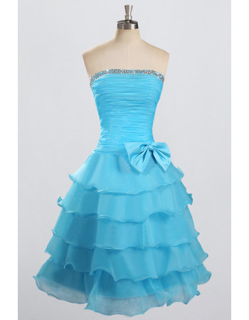 Nice Cheap Strapless Knee Length Chiffon Layered Skirt Formal Homecoming Dress
