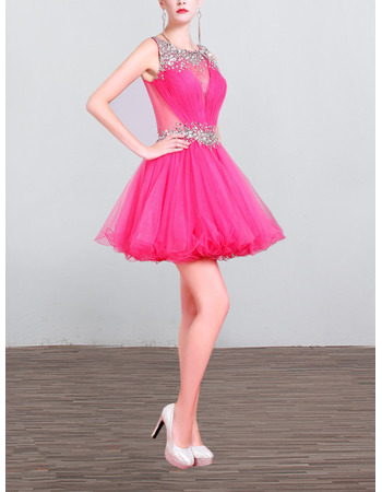 Petite Sleeveless Short hot pink Homecoming/ Cocktail Party Dress