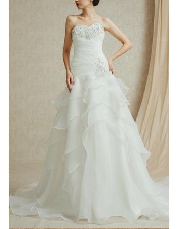 Inexpensive Timeless Sweetheart Sweep Train Chiffon Layered Skirt Wedding Dress