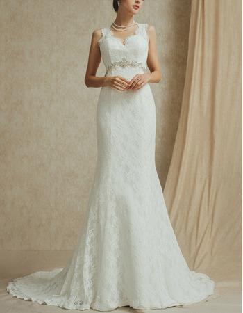 Elegant V-Neck Sleeveless Sweep Train Lace Open Back Wedding Dress
