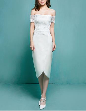 Inexpensive Sheath Off-the-shoulder Tea Length Garden Wedding Dress