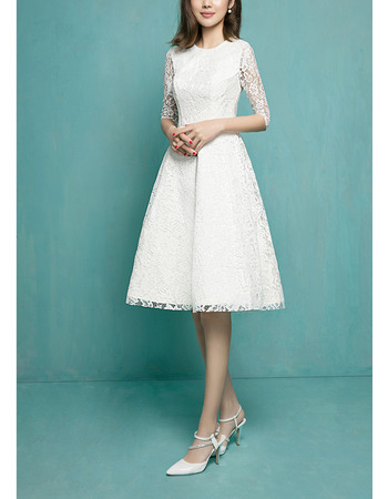 Elegant A-Line Short Lace Reception Wedding Dress with Half Sleeves