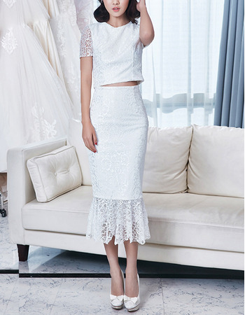 2018 Chic Sheath Tea Length Lace Two-Piece Wedding Dress with Short Sleeves