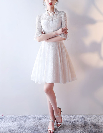 Modern Short Lace Reception Bridal Wedding Dress with Half Bell Sleeves