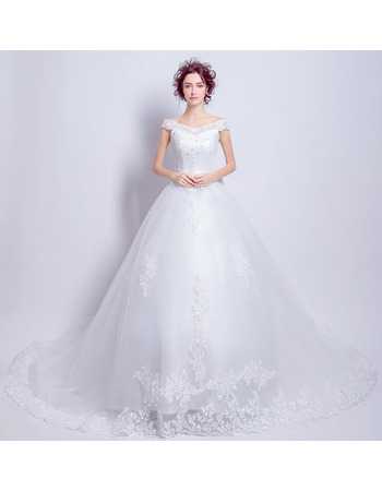 Classic Europe Off-the-shoulder Cathedral Train Organza Bridal Wedding Dress