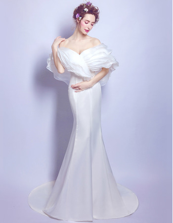 2018 Elegant Sheath Off-the-shoulder Sweep Train Satin Bridal Wedding Dress