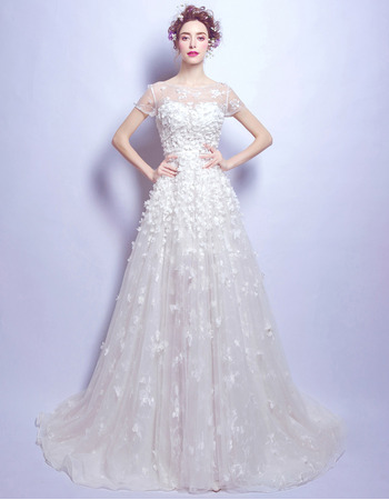 Custom Modern Sweep Train Organza Applique Bridal Wedding Dress with Short Sleeves