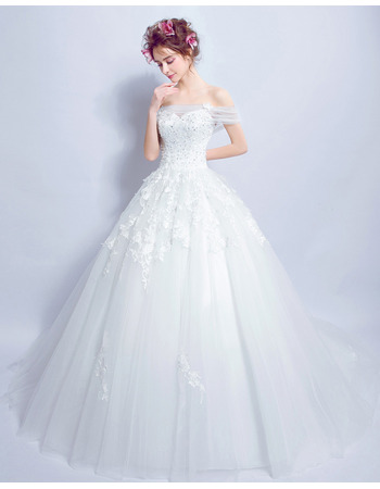 Cheap Modern Off-the-shoulder Chapel Train Organza Bridal Wedding Dress