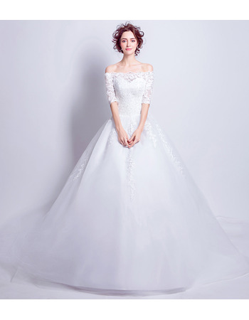 Inexpensive Off-the-shoulder Chapel Train Bridal Wedding Dress with Half Sleeves