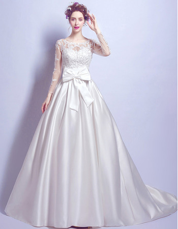2018 Fashion Chapel Train Satin Bridal Wedding Dress with Long Sleeves