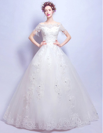 Classic Off-the-shoulder Long Bridal Wedding Dress with Short Sleeves