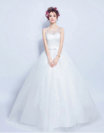 Classic Ball Gown Sleeveless Floor Length Satin Bridal Wedding Dress