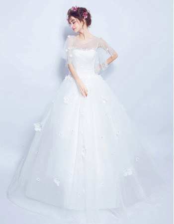 Modern Ball Gown Floor Length Organza Bridal Wedding Dress with Short Sleeves