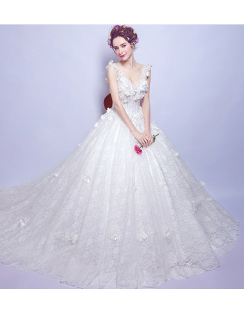 2018 Romantic V-Neck Sleeveless Chapel Train Lace Bridal Wedding Dress