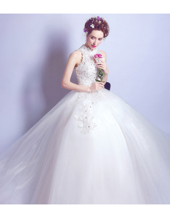 Classic Ball Gown Mandarin Collar Sleeveless Floor Length Bridal Wedding Dress