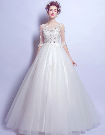 Cheap Floor Length Organza Bridal Wedding Dress with Half Sleeves