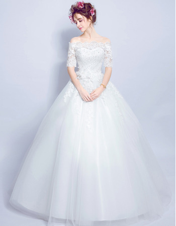 Classic Off-the-shoulder Long Bridal Wedding Dress with Half Sleeves