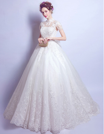 Fashionable Mandarin Collar Floor Length Bridal Wedding Dress with Short Sleeves