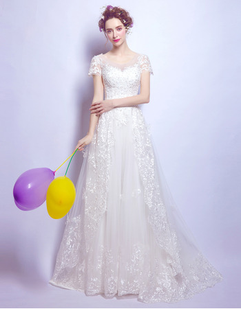 Stylish Sweep Train Organza Bridal Wedding Dress with Short Sleeves
