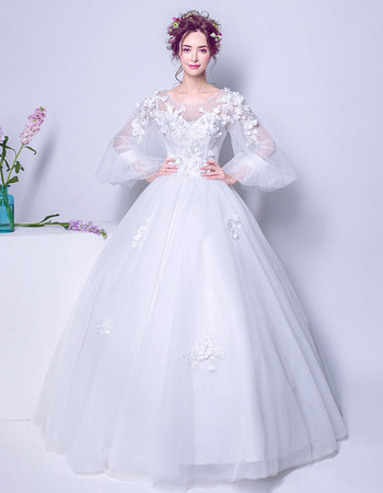 Classic Ball Gown Floor Length Bridal Wedding Dress with Long Bubble Sleeves