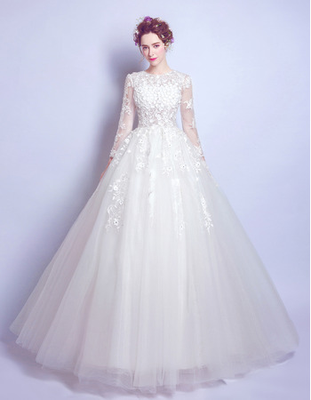 Designer Custom A-Line Floor Length Organza Bridal Wedding Dress with Long Sleeves