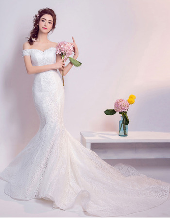 Modern Mermaid Off-the-shoulder Long Lace Bridal Wedding Dress