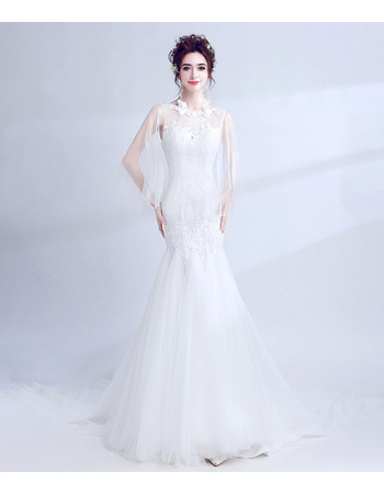 2018 Luxury Mermaid Chapel Train Wedding Dress with Organza Shawl
