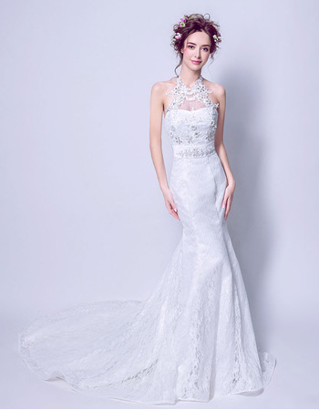 Custom Chic Mermaid Halter Sleeveless Sweep Train Lace Wedding Dress