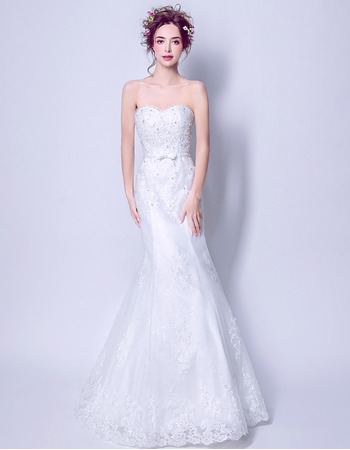 Affordable Modern Mermaid Sweetheart Floor Length Organza Wedding Dress