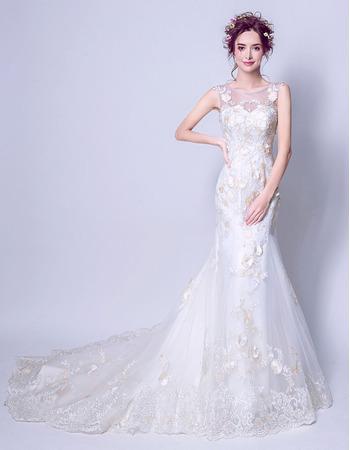 Inexpensive Elegant Sheath Court Train Satin Organza Applique Wedding Dress