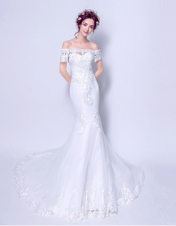 Custom Elegant Mermaid Off-the-shoulder Long Wedding Dress with Short Sleeves