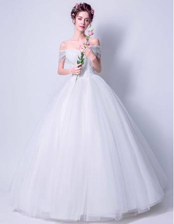 Inexpensive Chic Ball Gown Off-the-shoulder Floor Length Wedding Dresses