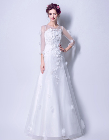 2018 New Modern A-Line Floor Length Wedding Dress with 3/4 Long Sleeves