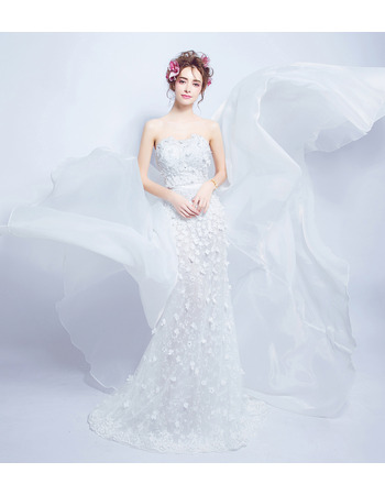 Custom Chic Sheath Sweetheart Applique Wedding Dress with Court Train