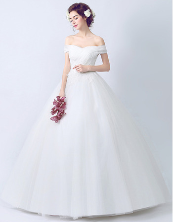 Inexpensive Timeless Ball Gown Off-the-shoulder Floor Length Wedding Dress