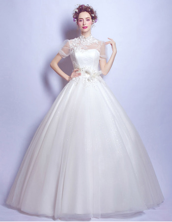 Timeless Elegant Ball Gown Mandarin Collar Wedding Dress with Short Sleeves