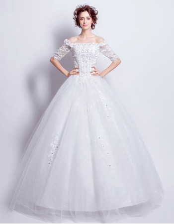 2018 Classic Modern Ball Gown Off-the-shoulder Wedding Dress with Half Sleeves