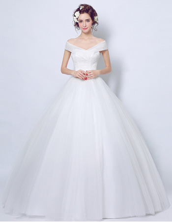 Inexpensive Chic Ball Gown Off-the-shoulder Floor Length Wedding Dress