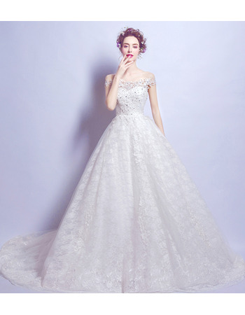 Affordable Elegant A-Line Off-the-shoulder Court Train Lace Wedding Dress