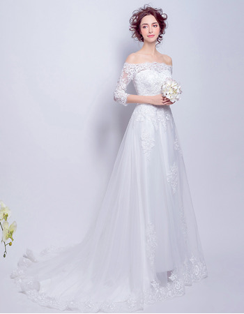 2018 Fashionable Off-the-shoulder Long Wedding Dress with Half Sleeves