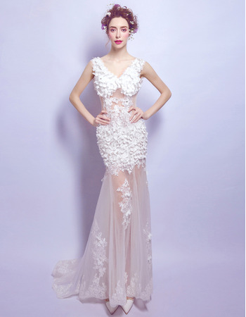 Affordable Sexy Sheath V-Neck Floor Length Organza Applique Wedding Dress