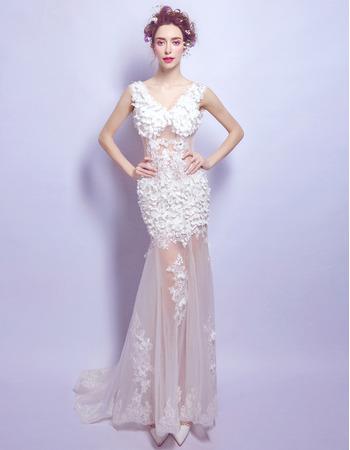 Affordable Sexy Sheath V-Neck Floor Length Organza Applique Wedding Dress