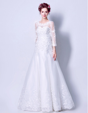 Stylish Classic A-Line Floor Length Wedding Dress with 3/4 Long Sleeves