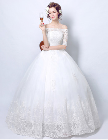 Classic Ball Gown Off-the-shoulder Wedding Dress with Half Sleeves
