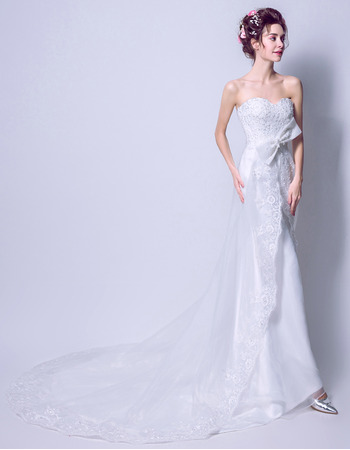 Custom Elegant Sheath Sweetheart Sleeveless Sweep Train Satin Wedding Dress