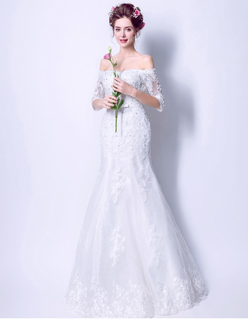 Affordable Elegant Trumpet Off-the-shoulder Wedding Dress with Half Sleeves