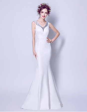 Sexy Elegant Mermaid V-Neck Sleeveless Floor Length Satin Wedding Dress