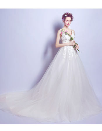 2018 Elegant V-Neck Court Train Satin Bridal Wedding Dress